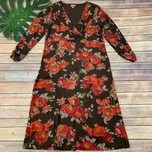 J. Jill brown and red floral 3/4 sleeve midi dress